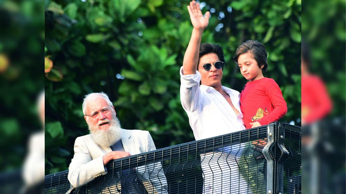 SRK, David Letterman and AbRam at Mannat.
