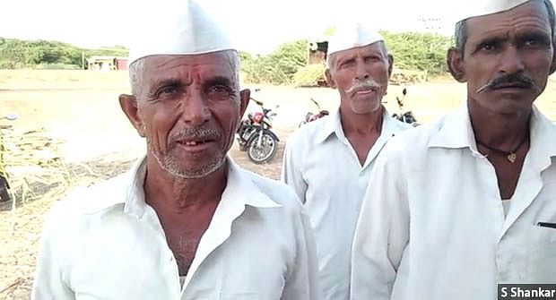 """""""The seeds that I had sown last year did not even sprout,"""" says 70-year-old Pandurang Mane (left) from drought-hit Athani taluka in northern Karnataka. His income has been reducing every year, he says, and he cannot get work as a farmhand at his age."""