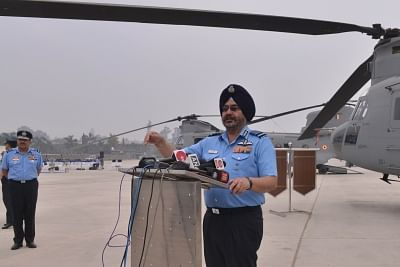 Chandigarh: Chief of the Air Staff, Air Chief Marshal B.S. Dhanoa talks to media persons during the induction ceremony of CH 47 F(I)- Chinook heavy lift helicopters into IAF inventory at Air Force Station in Chandigarh, on March 25, 2019. (Photo: IANS)