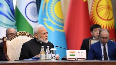 A file photo of Prime Minister Narendra Modi at the delegation level meeting of the 2019 Shanghai Cooperation Organization (SCO) Summit