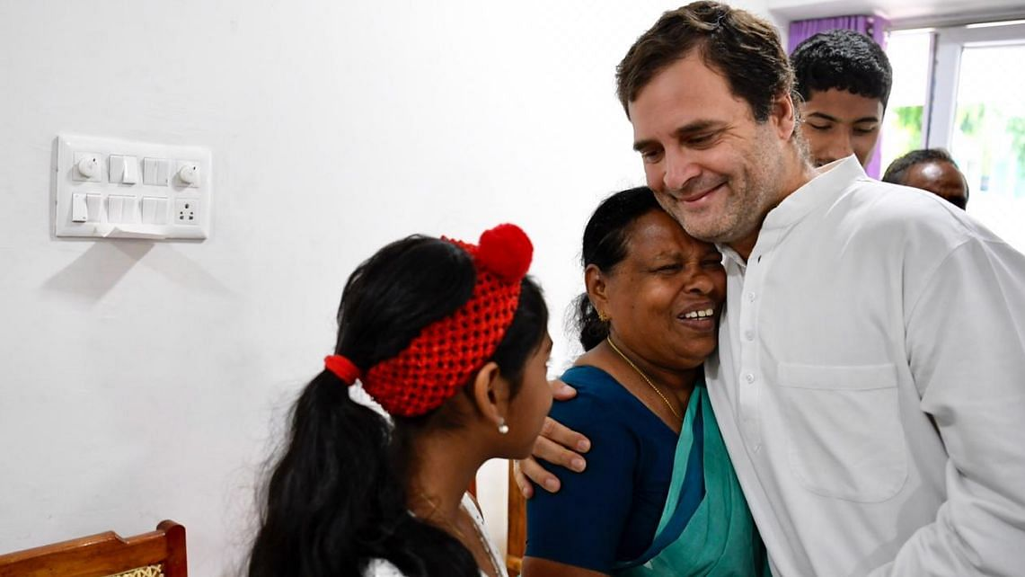 Rajamma Vavathil, a retired nurse, with Congress President Rahul Gandhi.