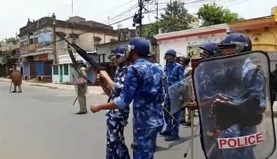 Bhatpara: Rapid Action Force personnel deployed after a man was killed as violence erupted at Bhatpara in West Bengal