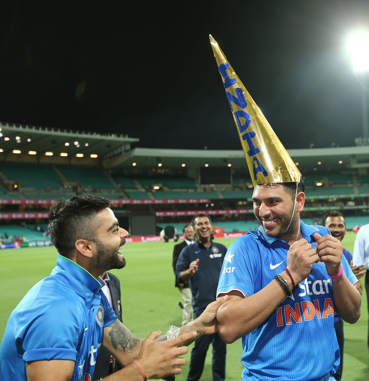 Virat Kohli and Yuvraj Singh share a laugh after India won the T20 series against Australia 3-0 in Jan, 2016.