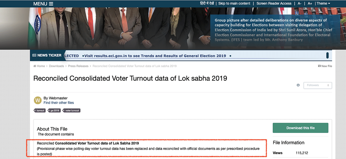 Above is the final EVM votes polled data currently available on the website.