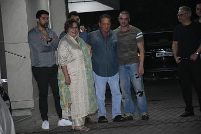 Mumbai: Actor Sohail Khan with his father Salim Khan and step-mother Helen seen outside his house, in Mumbai, on June 16, 2019. (Photo: IANS)
