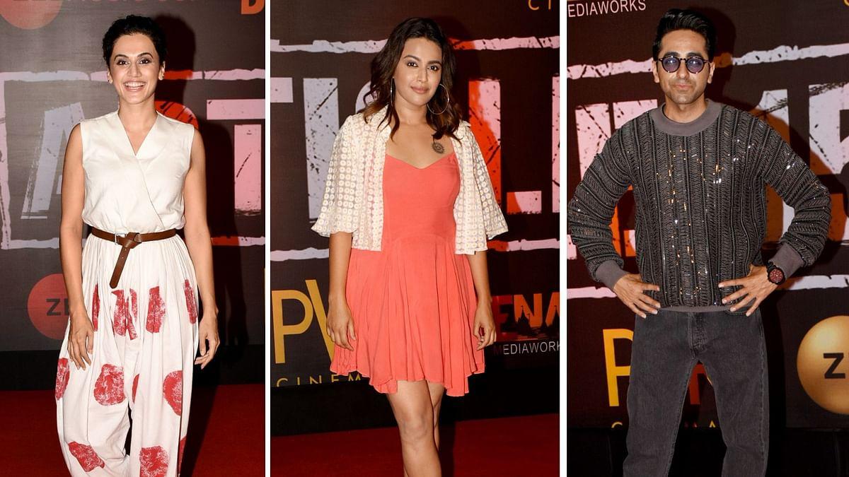 Taapsee Pannu, Swara Bhaskar and Ayushmann Khurrana at the screening of <i>Article 15</i>.