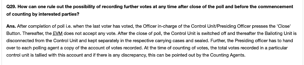 """Above is the screenshot from the <a href=""""https://eci.gov.in/faqs/evm/general-qa/electronic-voting-machine-r2/"""">EC's website</a> on """"ruling out the possibility of recording"""" of surplus votes in EVMs."""