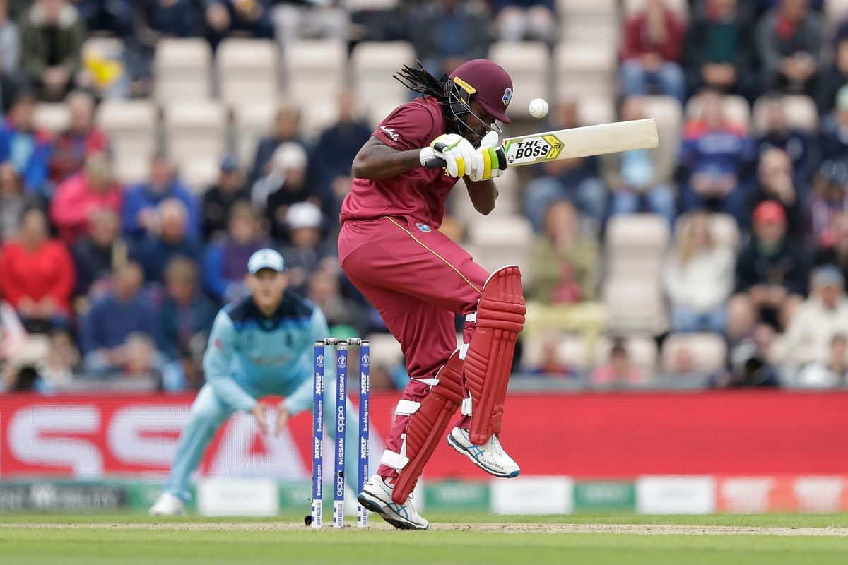 Gayle, out of frustration, pulled one from Woakes, just managed an edge but escaped as Wood grassed a sitter.