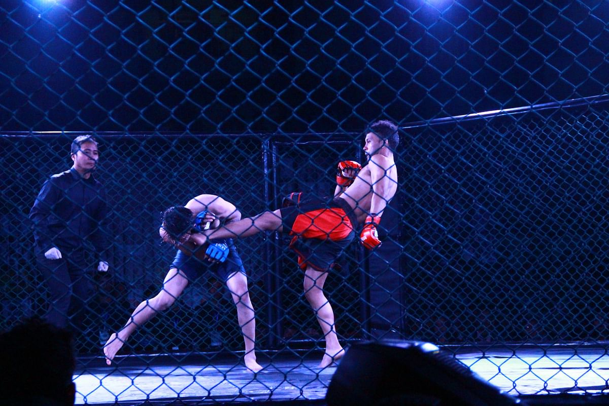 An MMA fight in Shillong.