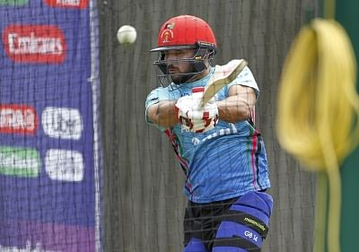 Southampton: Afghanistan captain Gulbadin Naib during a practice session ahead of a World Cup 2019 match against India at the Hampshire Bowl in Southampton, England on June 21, 2019. (Photo: Surjeet Yadav/IANS)