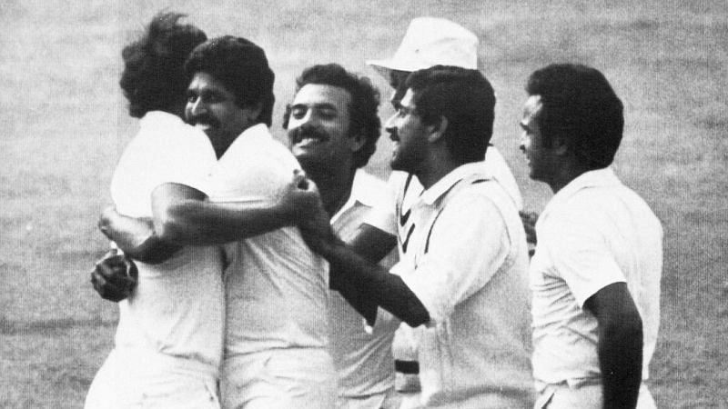 Madan Lal (third from the left) seen celebrating with his teammates at the 1983 World Cup.