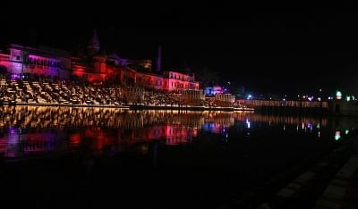 Ayodhya: A view of banks of the Saryu river during