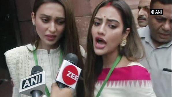'Don't Push,' Say Mimi & Nusrat As Media Swarms Them Outside Parl