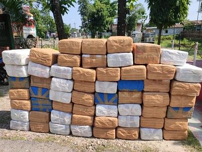 Officers found 661.5 kg of ganja concealed in 310 packets wrapped with brown adhesive tape.