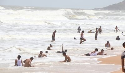 Tourists enjoy themselves at Goa
