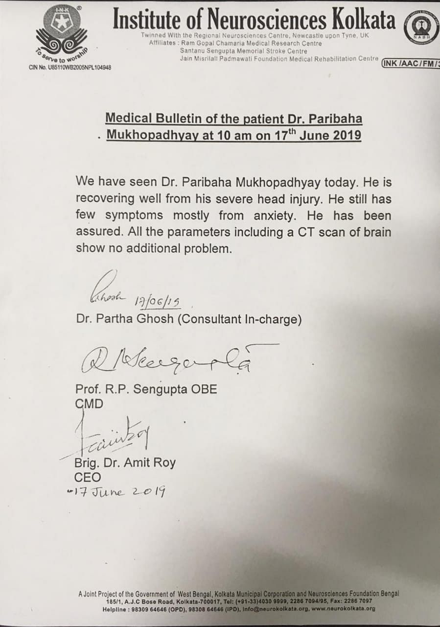 The medical bulletin of Dr Paribaha as of 10 am on 17 June.