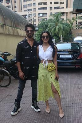 "Mumbai: Actors Shahid Kapoor and Kiara Advani at the screening of their upcoming film ""Kabir Singh"", in Mumbai, on June 23, 2019. (Photo: IANS)"