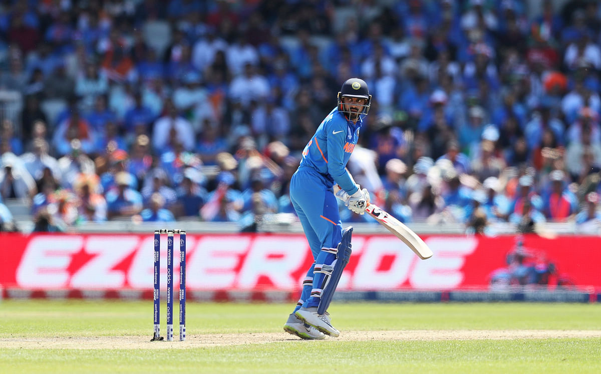 India's Vijay Shankar looks back to see the ball being caught by West Indies' Shai Hope resulting in his dismissal.