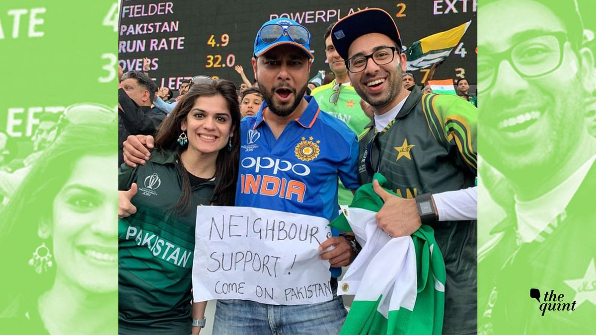 A photo of a man at Lord's wearing the Indian jersey but cheering for Pakistan went viral on social media.