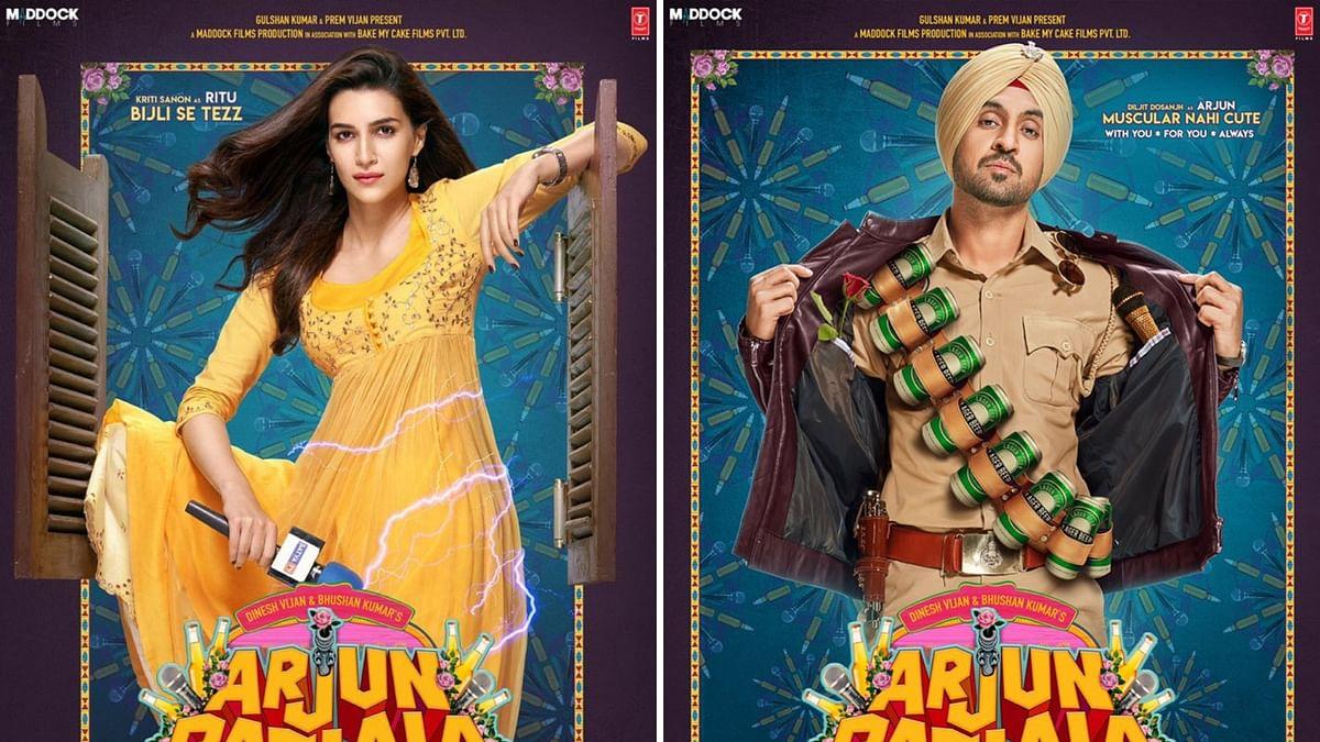 Kriti Sanon and Diljit Dosanjh in posters for <i>Arjun Patiala</i>.