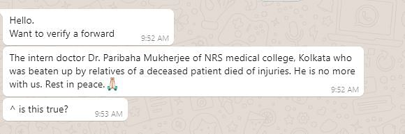 No, Doctor Attacked by Patients at NRS Hospital Hasn't Passed Away