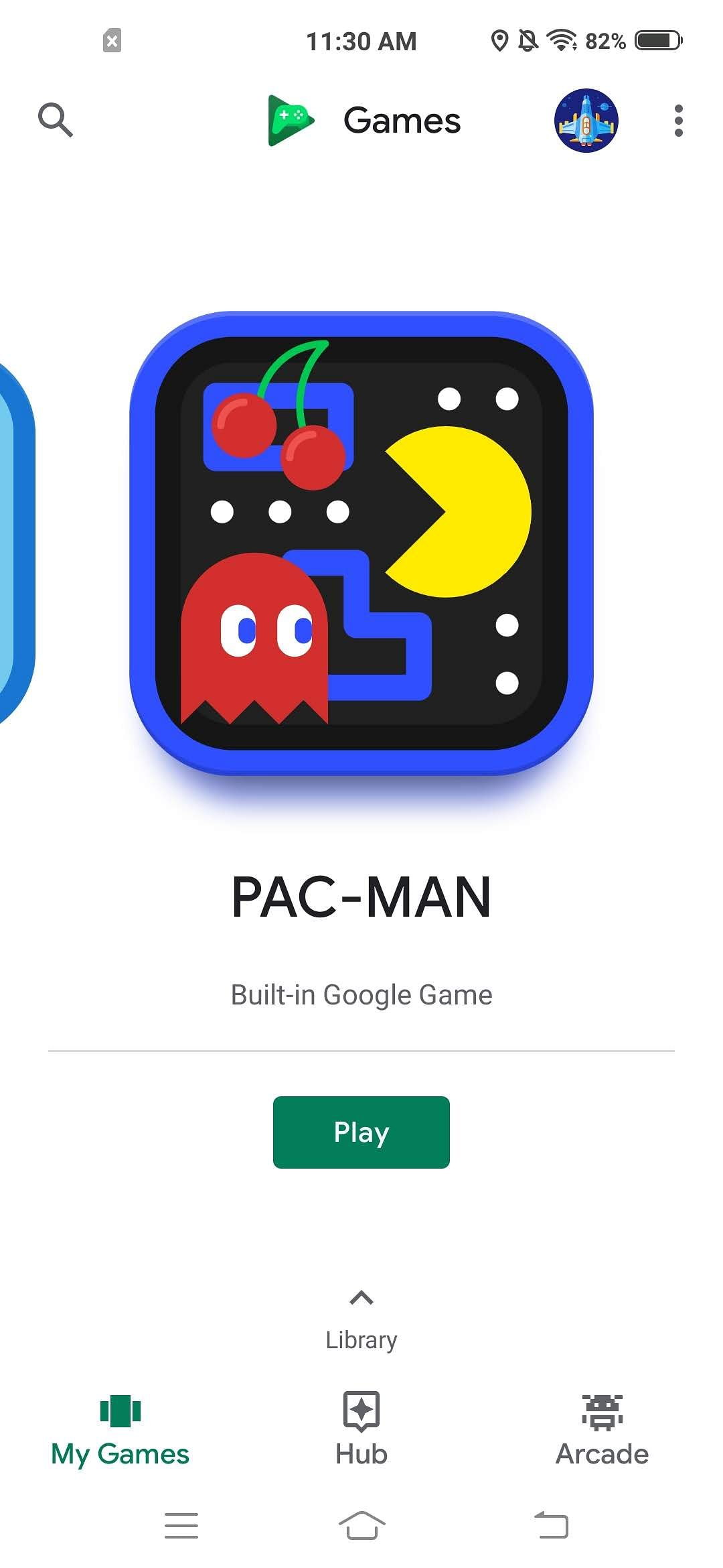 Google play Games features the popular arcade game Pac-Man.