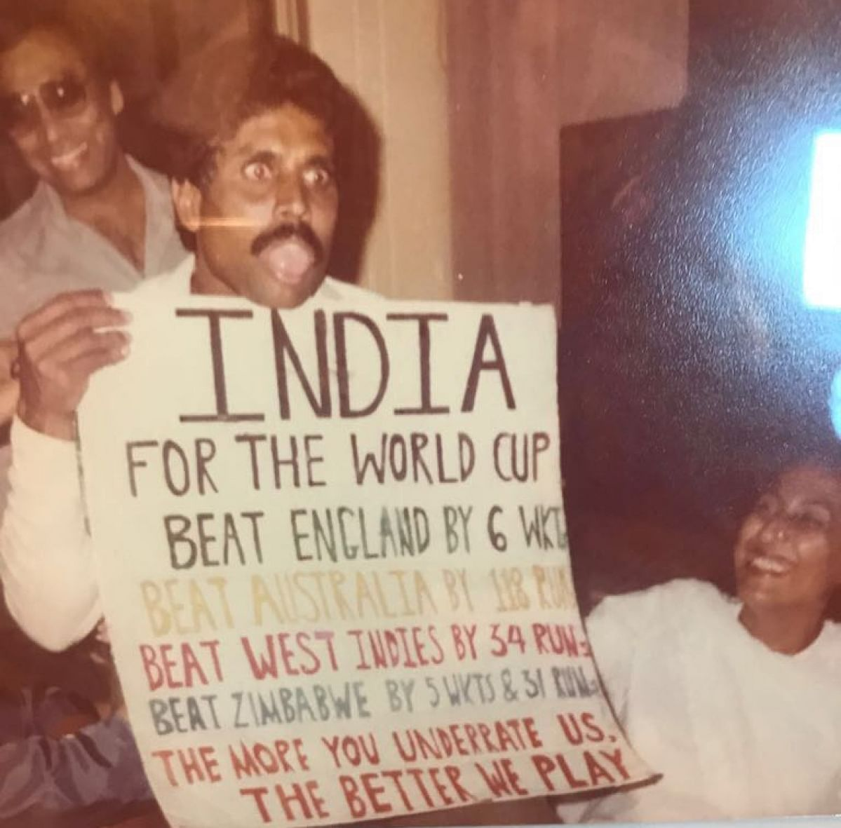 Captain Kapil Dev (left) celebrating India's 1983 World Cup win.