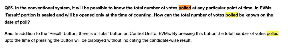 """<a href=""""https://eci.gov.in/faqs/evm/general-qa/electronic-voting-machine-r2/"""">Election Commission's FAQs</a>"""