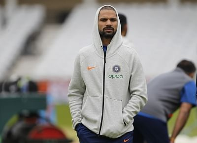 England: Indian cricketer Shikhar Dhawan during a practice session ahead of the 2019 World Cup match against New Zealand, at Trent Bridge Cricket Ground in Nottinghamshire, England on June 12, 2019. (Photo: Surjeet Yadav/IANS)