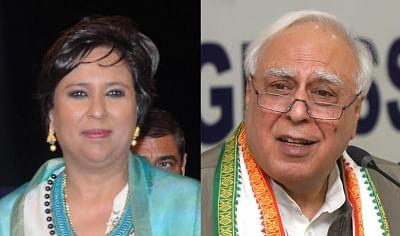 Barkha Dutt (Right) and Kapil Sibal (Left). (Photo: IANS)
