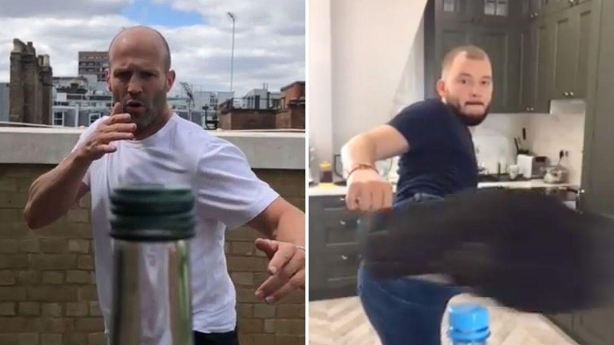 Jason Statham attempting the Bottle Cap Challenge