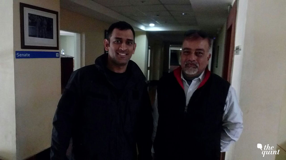 A recent photo of MS Dhoni with his coach Chanchal Bhattacharya.