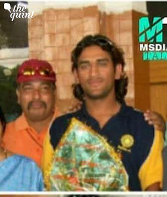 A young MS Dhoni with his coach Chanchal Bhattacharya.