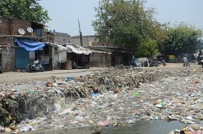 New Delhi: A view of a drain chocked with garbage in Delhi