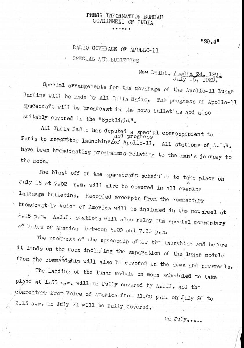 The PIB statement highlighting Indian coverage of Apollo 11.