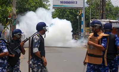 North 24 Parganas: Rapid Action Force (RAF) personnel during a bomb attack by miscreants in West Bengal