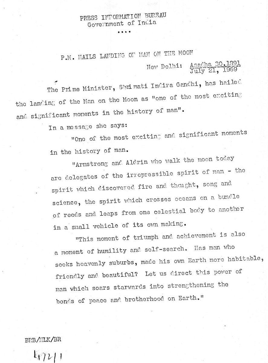 The statement from Indira Gandhi in 1969.