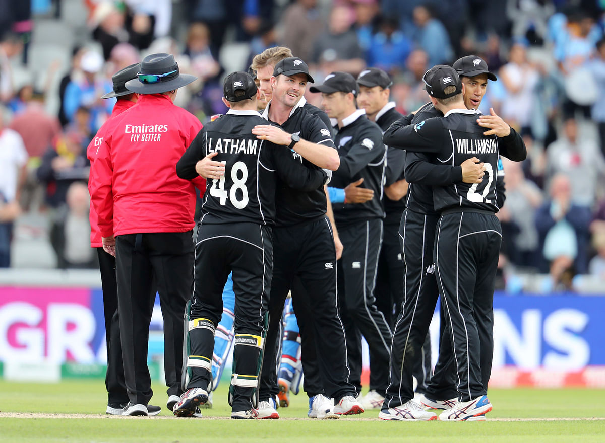 New Zealand cricketers celebrate after winning the Cricket World Cup semifinal match against India at Old Trafford in Manchester, Wednesday, July 10, 2019. (AP Photo/Rui Vieira)