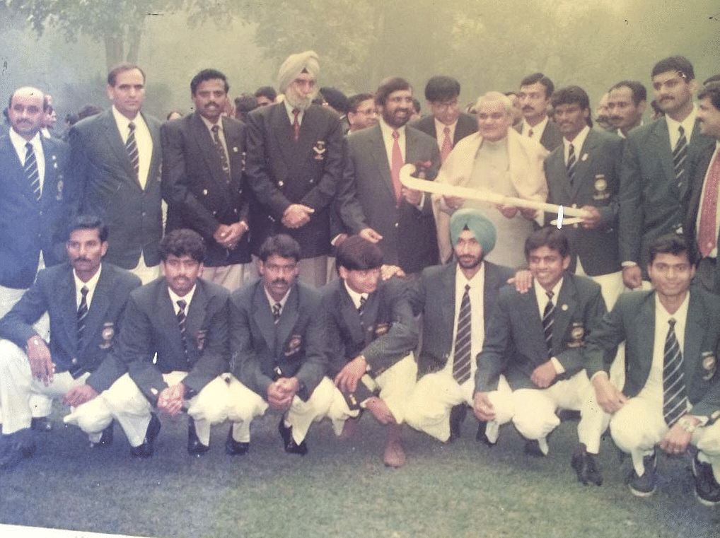 Late Atal Bihari Vajpayee with the Indian hockey team that won the 1998 Asian Games gold.