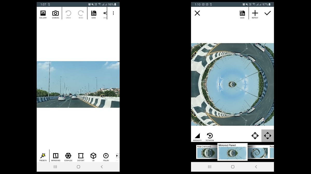 Mirror Lab gives some interesting photo effects which change the photos like the little planet.