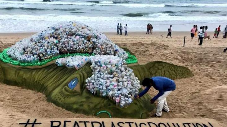 Patnaik won the 'People's Choice Award' for his sand sculpture 'Stop Plastic Pollution, Save Our Ocean'.