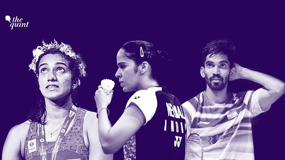 From left:  PV Sindhu, Saina Nehwal and Kidambi Srikanth.