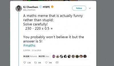 If you are baffled by a viral mathematical equation that has taken the social media platforms by storm, you do not actually need to go too far but to check it with your Maths teacher at school.