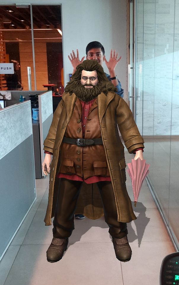 You can place Harry Potter characters like Hagrid in a real-world setting and take selfies with them.