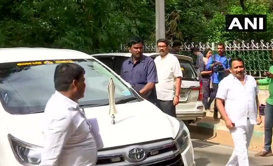 Congress leaders attend meeting at Karnataka Deputy Chief Minister G Parameshwara's residence.
