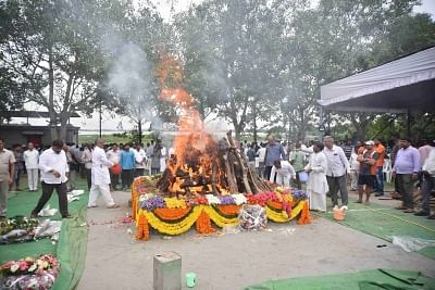 Hyderabad: The burning pyre of Former Union Minister and party leader from Telangana, S. Jaipal Reddy at his funeral in Hyderabad on July 29, 2019. (Photo: IANS)