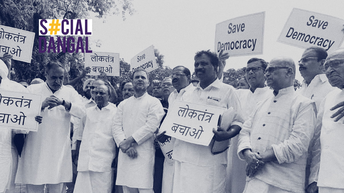Congress workers protested at the parliament against BJP's horse trading.