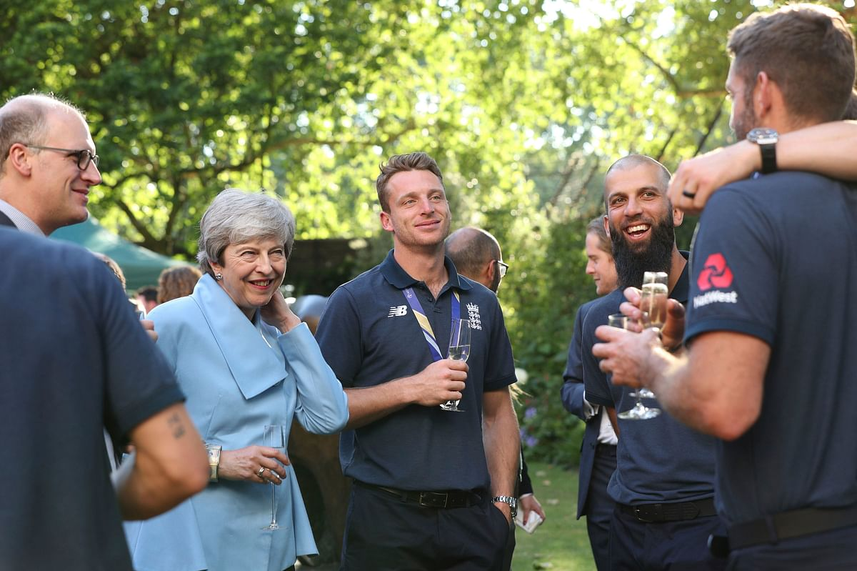 Britain's Prime Minister Theresa May during a reception with members of the England cricket team at 10 Downing Street in London.