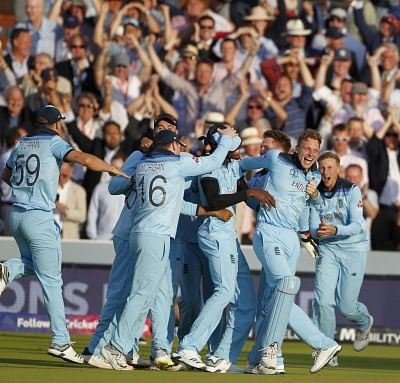 London: England players celebrate after winning the final match of the 2019 World Cup against New Zealand at the Lord