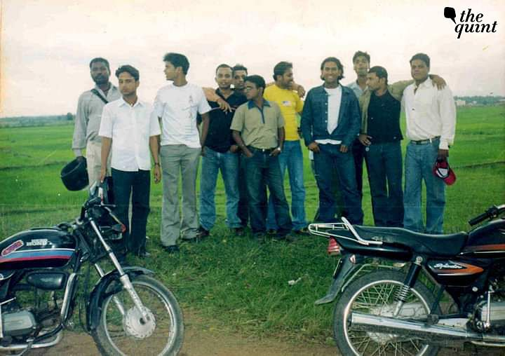 A young MS Dhoni (fourth from right) with his friends.